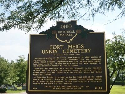 Fort Meigs Union Cemetery Marker image. Click for full size.