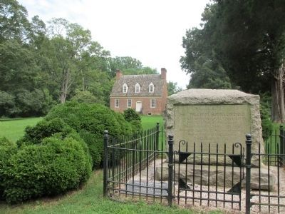 General Smallwood's Gravesite Marker with his home in the distance image. Click for full size.