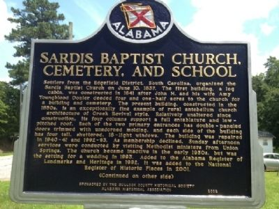 Sardis Baptist Church, Cemetery, and School Marker Front image. Click for full size.