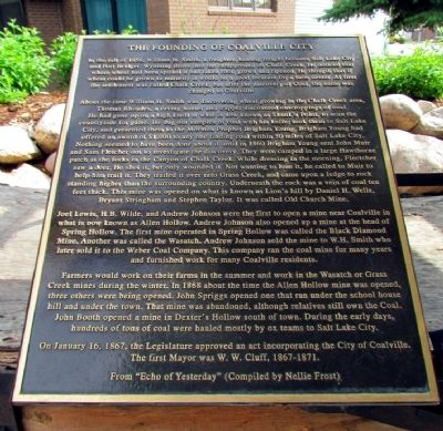 The Founding of Coalville City Marker image. Click for full size.
