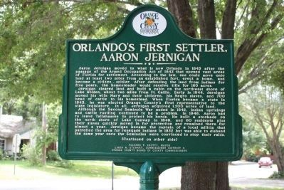 Orlando's First Settler, Aaron Jernigan Marker-Side 1 image. Click for full size.