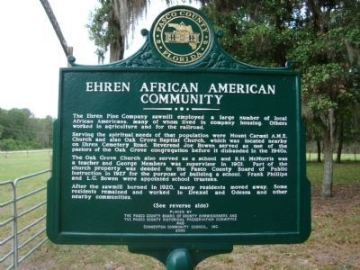 Ehren African American Community Marker image. Click for full size.