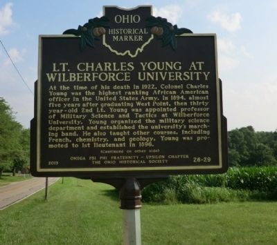 Lt. Charles Young at Wilberforce University Marker image. Click for full size.