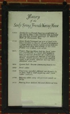 History of the Sandy Spring Friends Meeting House Marker image. Click for full size.
