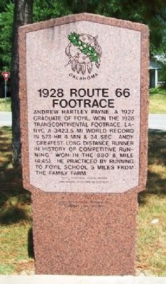 1928 Route 66 Footrace Marker image. Click for full size.