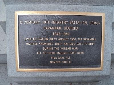Savannah Marine Korean War Monument Marker image. Click for full size.