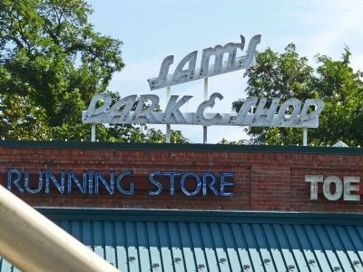 Sam's Park & Shop Sign image. Click for full size.
