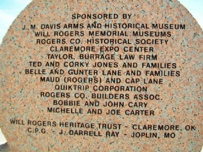 Will Rogers Marker Sponsors image. Click for full size.