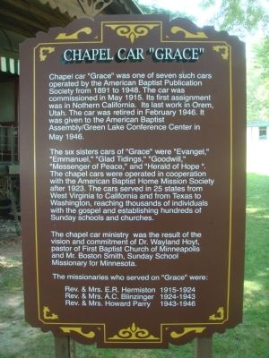 "Chapel Car ""Grace"" Marker image. Click for full size."
