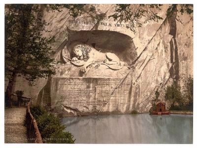 Photochrome Postcard of the Lion Monument (ca . 1890-1900) image. Click for full size.