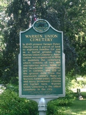 Warren Union Cemetery Marker image. Click for full size.