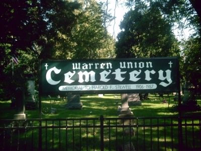 Warren Union Cemetery sign image. Click for full size.