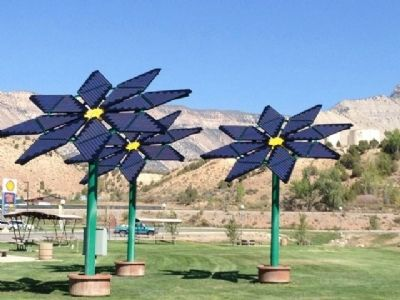 Rest Stop Solar Flowers Photo, Click for full size