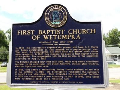 First Baptist Church of Wetumpka Marker (Obverse) image. Click for full size.