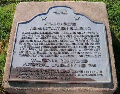 Atascadero Administration Building Marker image. Click for full size.