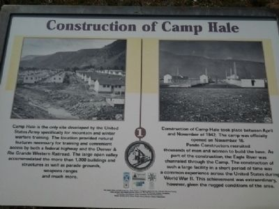 Construction of Camp Hale Marker image. Click for full size.