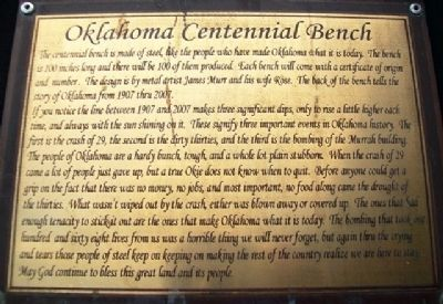 Oklahoma Centennial Bench Marker image. Click for full size.