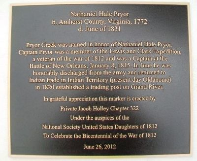 Nathaniel Hale Pryor Marker image. Click for full size.