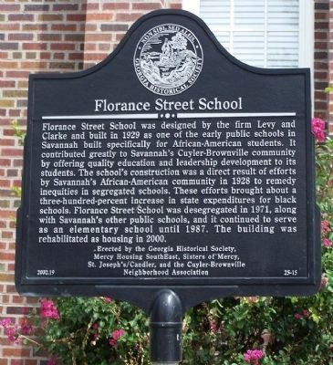 Florance Street School Marker image. Click for full size.