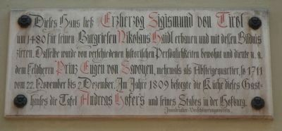 House of Archduke Sigismund of Tyrol Marker image. Click for full size.