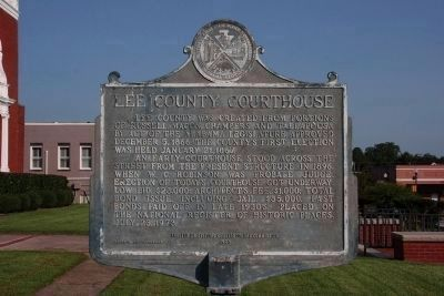 Lee County Courthouse Marker (side a) image. Click for full size.
