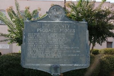 Lee County Probate Judges Marker (side b) image. Click for full size.