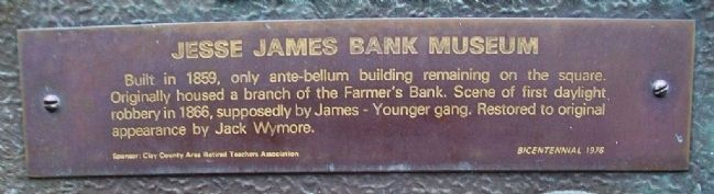 Jesse James Bank Museum Marker Detail image. Click for full size.