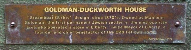Goldman-Duckworth House Marker Detail image. Click for full size.