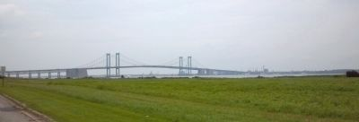 Delaware Memorial Bridge as seen from Lukens Drive along the Delaware River image. Click for full size.