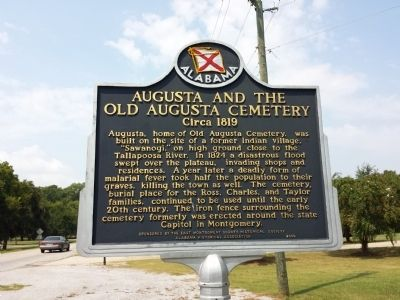 Augusta and the Old Augusta Cemetery Marker image. Click for full size.