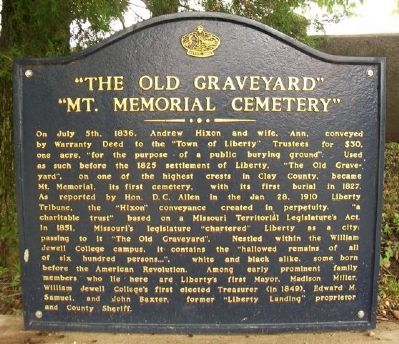 """The Old Graveyard"" ""Mt. Memorial Cemetery"" Marker image. Click for full size."