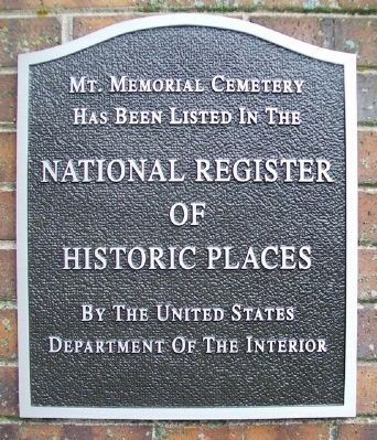 Mt. Memorial Cemetery NRHP Marker image. Click for full size.