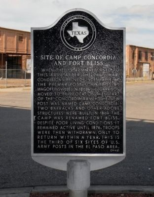 Site of Camp Concordia and Fort Bliss Marker image. Click for full size.