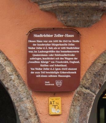 Magistrate Zeller's House Marker image. Click for full size.
