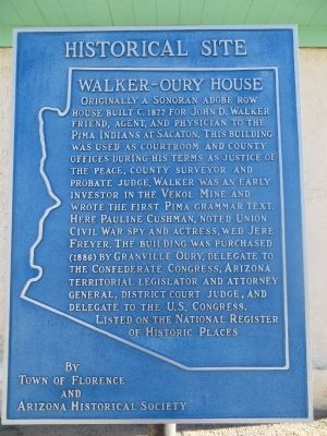 Walker – Oury House Marker image. Click for full size.