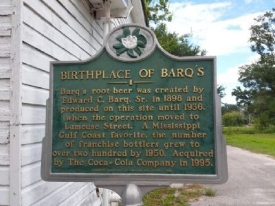 Birthplace of Barq's Marker image. Click for full size.