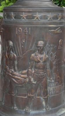 Pharmacists' War Memorial: art work on base of flagpole image. Click for full size.