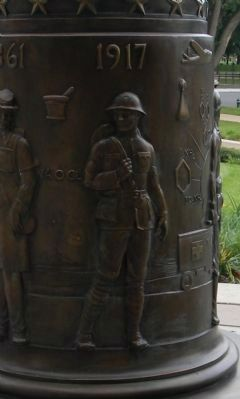 "Pharmacists' War Memorial: rendering of a ""1917"" doughboy"" Pharmacist of WWI, image. Click for full size."