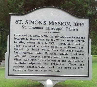 St. Simon's Mission, 1896 Marker image. Click for full size.
