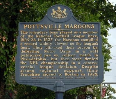 Pottsville Maroons Marker image. Click for full size.