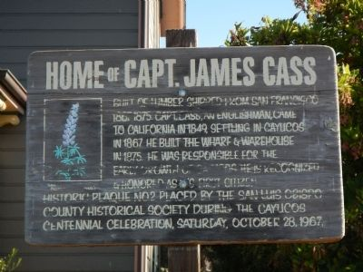 Home of Capt. James Cass Marker image. Click for full size.