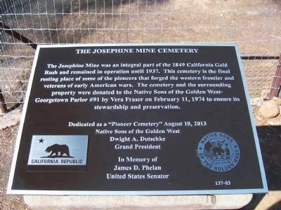 The Josephine Mine Cemetery Marker Photo, Click for full size