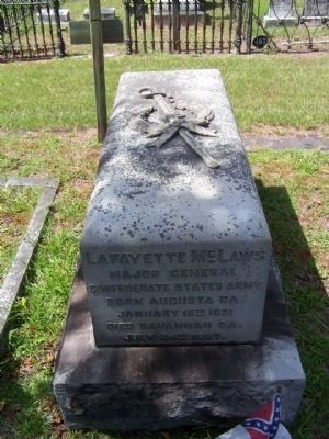 Lafayette McLaws Grave site at Laurel Grove Cemetery, Savannah; image. Click for full size.