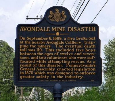 Avondale Mine Disaster Marker image. Click for full size.