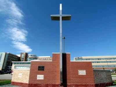 The 30' Historic Cross and Date Stones of Previous Hospital Buildings image. Click for full size.