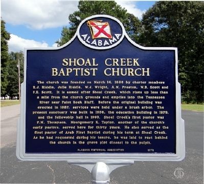 Shoal Creek Baptist Church Marker image. Click for full size.