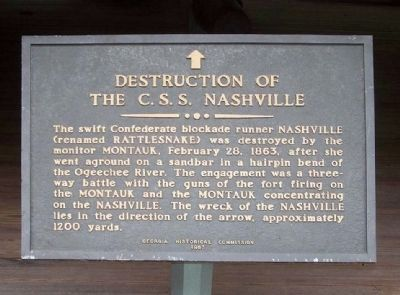Destruction of the C.S.S. Nashville Marker image. Click for full size.
