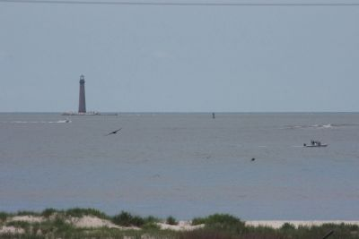Sand Island Lighthouse and The Aprroach Channel To Mobile Bay. image. Click for full size.