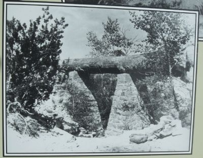 "Masonry pillars were added to ""support"" Agate Bridge in 1911 image. Click for full size."