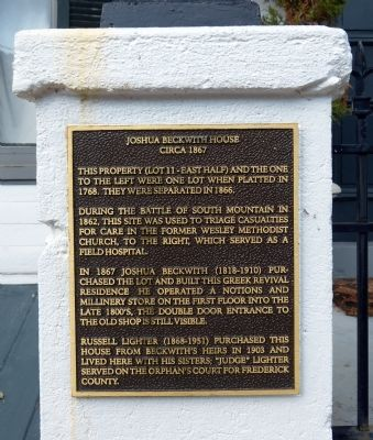 Joshua Beckwith House Marker image. Click for full size.